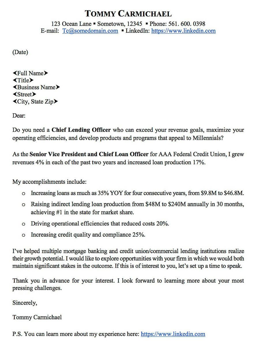 3 Chief Lending Officer  Value Proposition Letter _