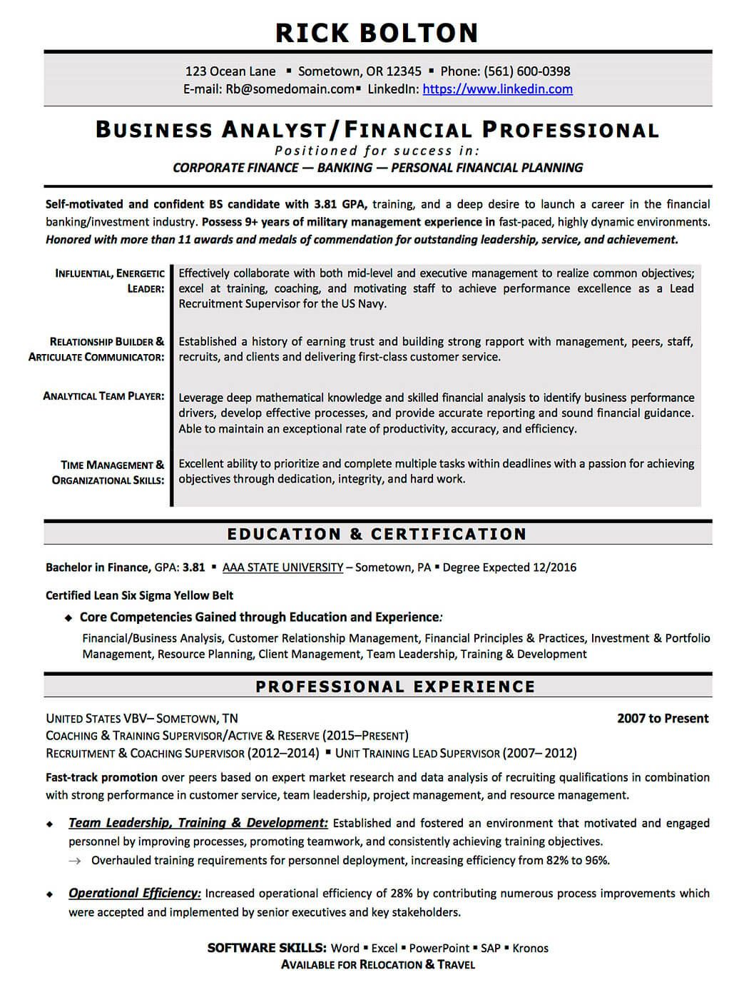 resume examples cv sample resume templates rso resumes 3 military transition to business analyst