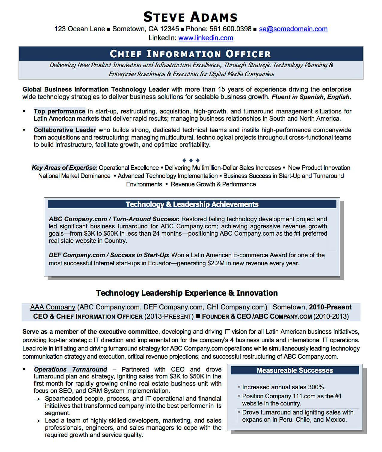 technology innovation executive resume